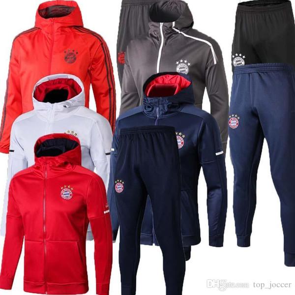 2019 20 Bayern Monaco rivestimento di calcio tuta 2018 2019 Survêtement VIDAL LEWANDOWSKI MULLER ROBBEN JAMES completa chiusura lampo vestito giacca da allenamento