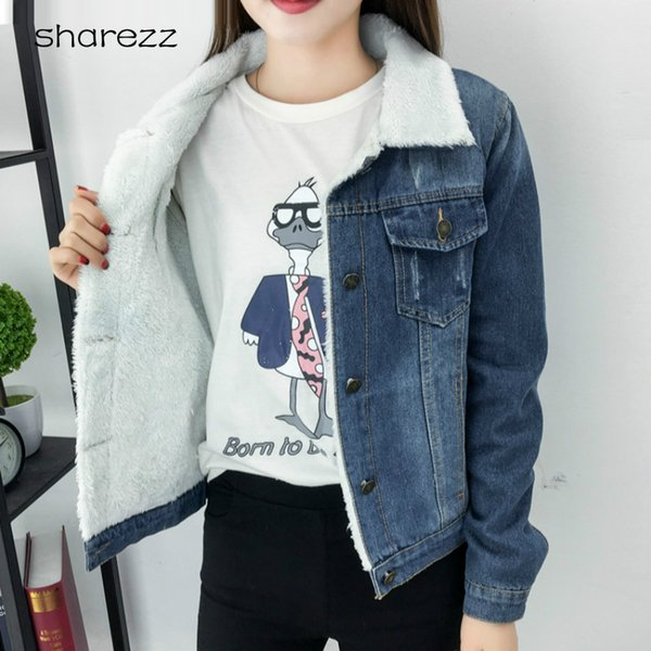 Spring Autumn Winter New 2019 Women Lambswool Jean Coat with Pockets Long Sleeves Warm Jeans Coat Outwear Wide Denim Jacket