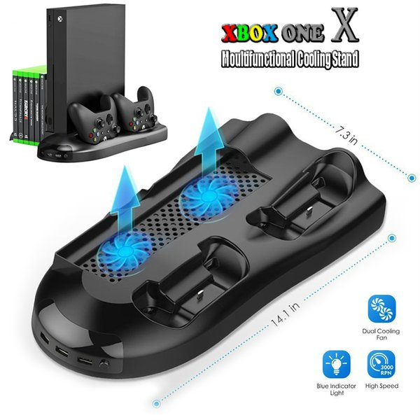 For Xbox One X Multifunctional Cooling Stand Vertical Station Fans Dual Controller Charging Dock 3 USB Ports Game Discs Storage