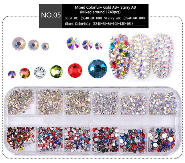 best selling NA053 1 Box Multi Size Crystal Nails Decorations Acrylic Round Colorful Glitters Rhinestones DIY Nail Art Accessoires