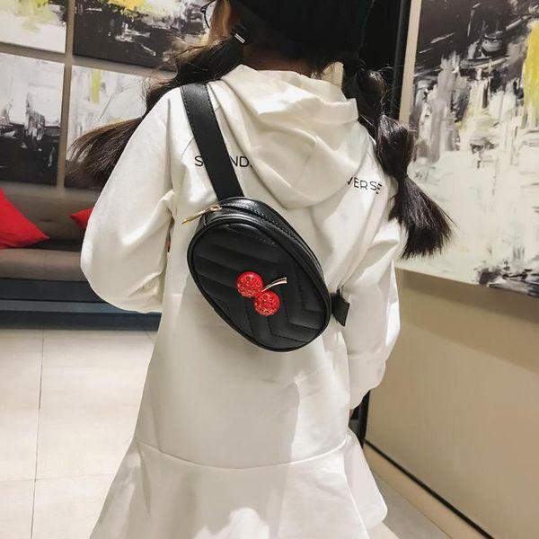 dbb573ce25f8 Cute Children Cherry Waist Mini Bags Kids Zipper Fanny Packs 2018 New  Fashion PU Leather Chest Shoulder Belt Bag For Girls Frame Backpacks Black  ...