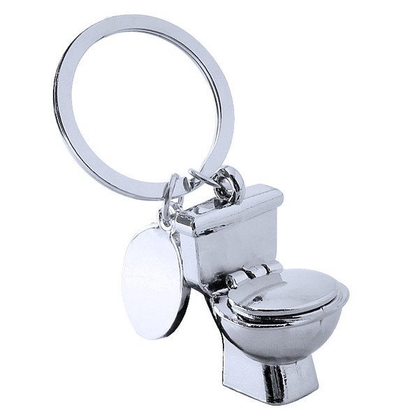 Novelty Trinket Mini Cute Toilet Keychain Silver Color Friend Funny Gift Key Ring Cool Unique Water Closet