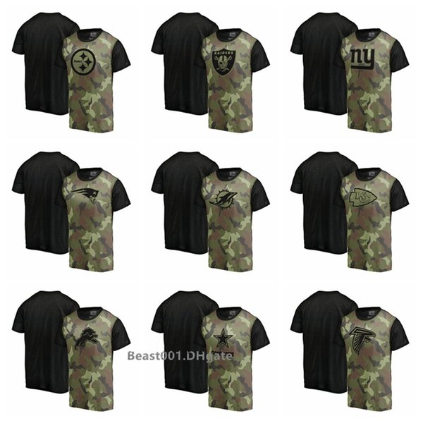 Men ProLineby Fanatics Branded Steelers Raiders Giants Patriots Dolphins Chiefs DetroitLions Dallas Falcons Camo Blast Sublimated T-Shirt