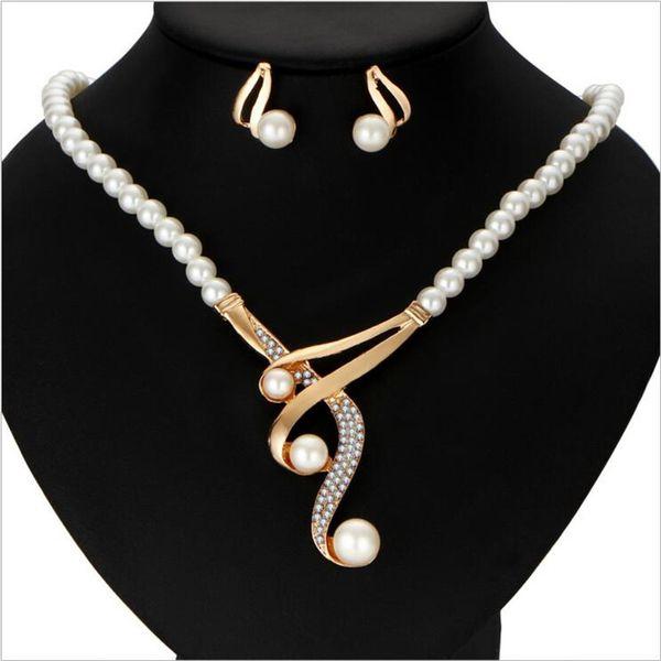 2019 Full Rhinestone Crystal Pearls Wedding Bridal Jewelry Set