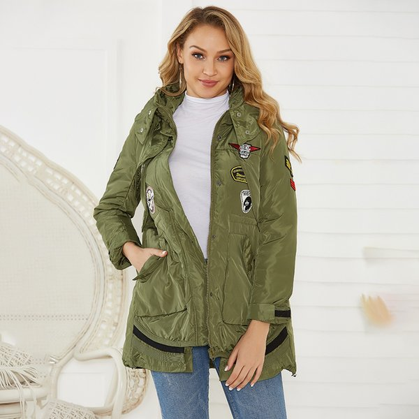 Hiver chaud Femmes Manteau Col Stand Casual Baggy Comfy Parkas dames pleine capuche manches Zipper poches Outwear Cazadora Mujer