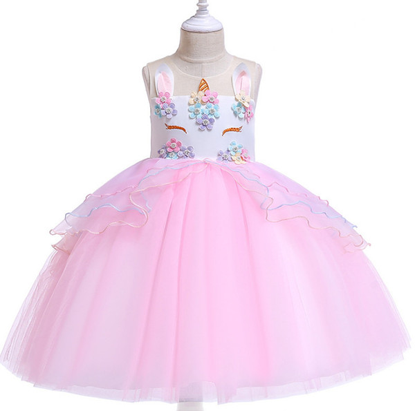 c811b86a5a6d INS Kids unicorn dress girls beaded colorful flowers party dresses children  unicorn embroidery princes dress girls pageant dress F4655