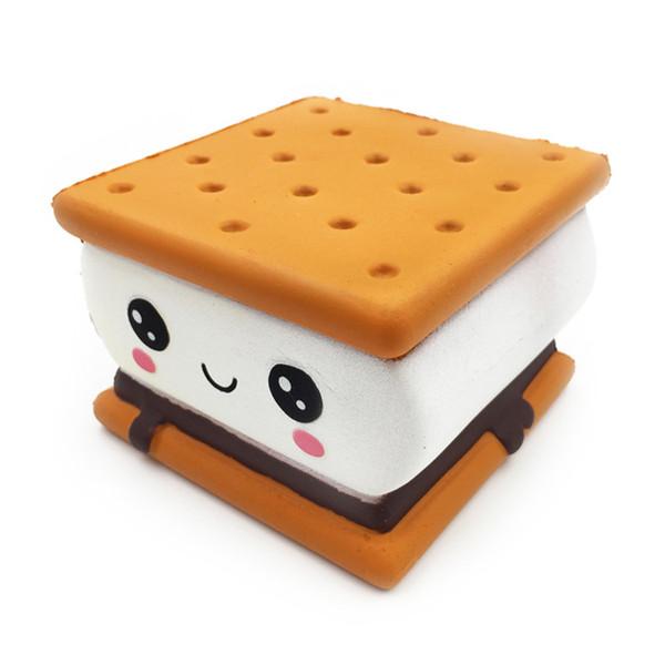 Kawaii Cake Biscuit Bread per Squishy Giocattolo a lenta crescita Toy Squeeze al cioccolato Giocattolo Jumbo Squish per bambini Regalo Cordino Cinghie per telefono