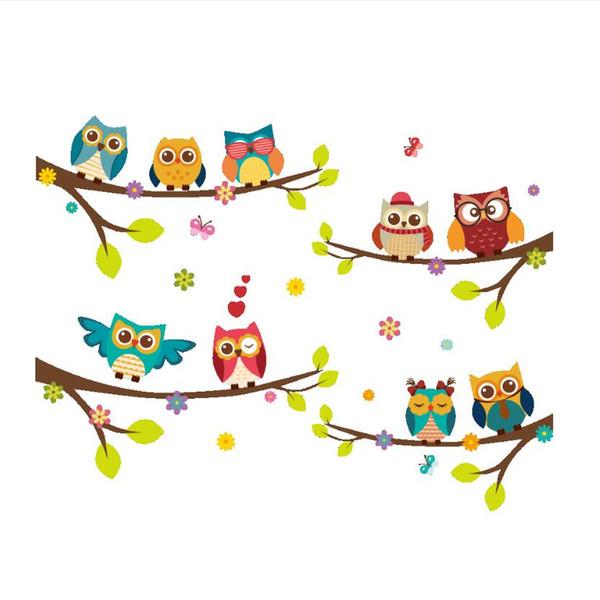 Meilleur Vente Nouveau Stickers Muraux Designer de Dessin Animé Hibou Branches Chambre Décoration Murale Stickers Muraux Livraison Gratuite