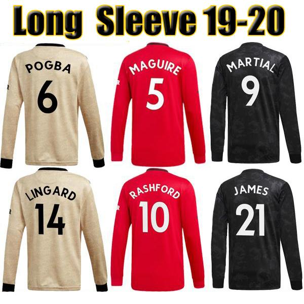 19 20 manche ter long leeve occer jer ey martial united 2019 2020 man utd lingard pogba jame ra hford football kit occer hirt, Black;yellow