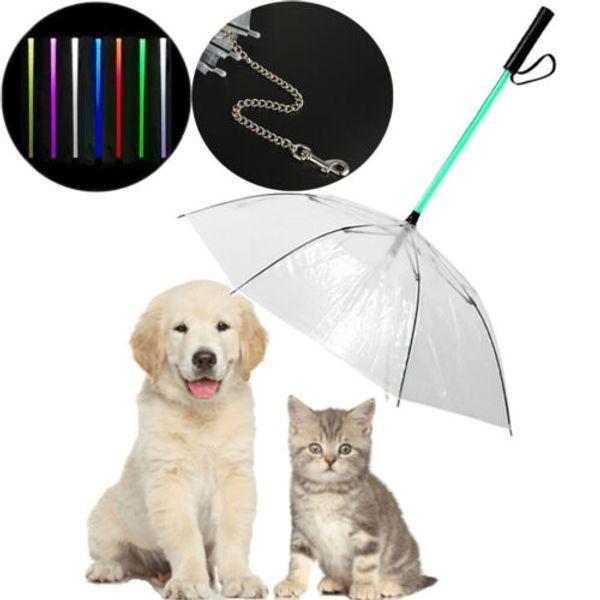 Sıcak Satış Moda Taşınabilir Mekan LED Şemsiye Yavru Pet Köpek Yağmur Kar Dahili Tasma Kuru Temiz