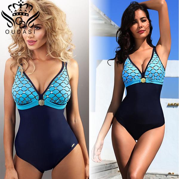 New Arrival Plus Size One Piece Swimsuit Deep V Swimwear Women Vintage Monokini Bathing Suit Women Summer Beach Wear 5xl Y19072301