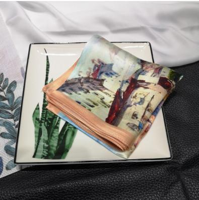 2019 Chinese Style New Small Square Scarf 100% Mulberry Silk For Elegant Women house Painting Patterns Noble Gift