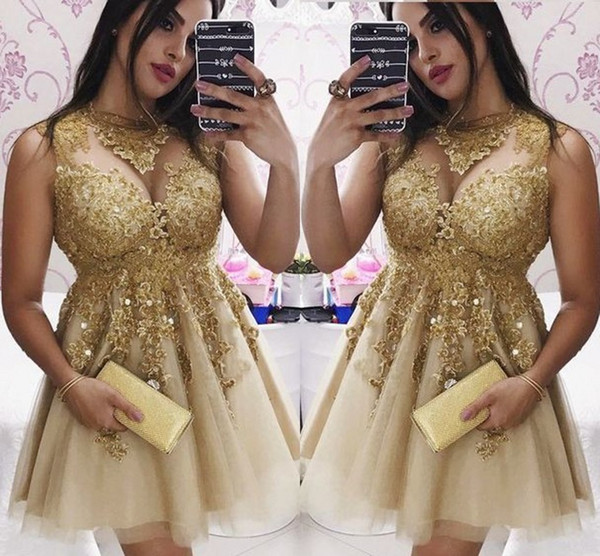 Gold Lace Applique Short Prom Dresses Plus Size Sheer Cap Sleeve Jewel  Crystal Homecoming Dress Graduation Party Evening Gowns Juniors Design Prom  ...