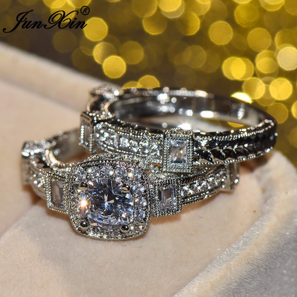 choucong Luxury Female Big Unique Diamond Ring White Gold Filled Jewelry Vintage Wedding Ring Set Promise Engagement Rings For Women