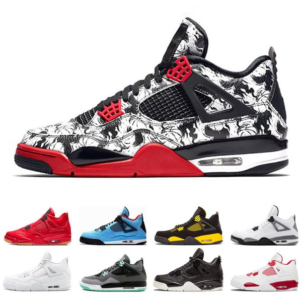 Cheap Tattoo 4 Singles Day 4 4s Basketball Shoes Cactus Jack Raptors Pure Money Black Cat Military Blue men mens trainers Sports Sneakers