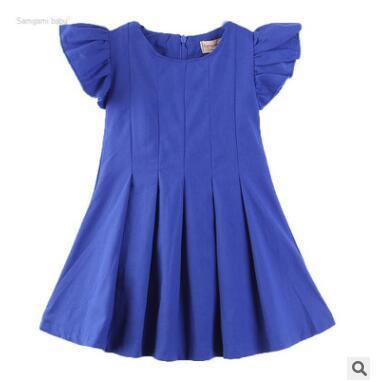 Enfants Designer Vêtements Filles Marine Bleu Robe Plissée 2019 D'été Bébé Fille Volants À Manches Courtes Doux Coton Robe Enfants Fille Robe De Fête