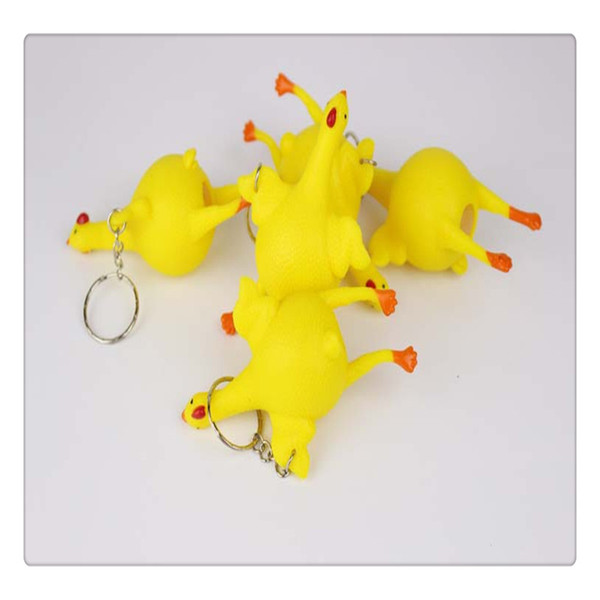 Fidget Key Chain Stress Relief Vent Tricky Toys Squeeze Chicken Laying Egg Key Chain Funny Chicken Lay Eggs Keychains