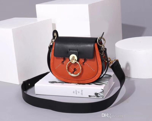 New Arrival Design High Quality Saddle bag leather handbags fashion cool wild embroidered pony matte leather women bag