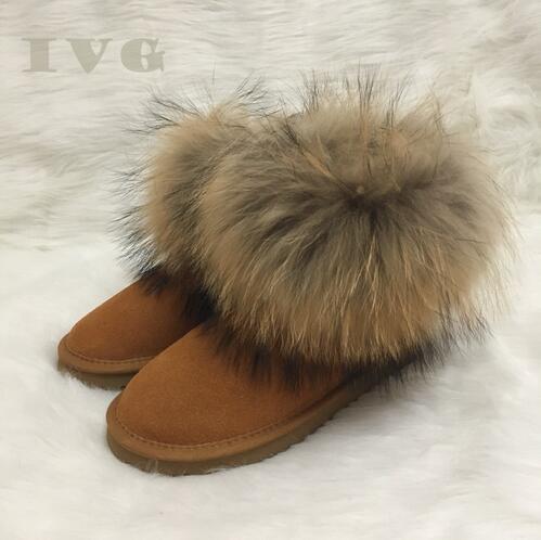 Botas de mujer Botas australianas Botas de nieve para mujer Botas de piel sintética de piel de imitación de piel de invierno de alta calidad Ivg Marca Ivg US4-14