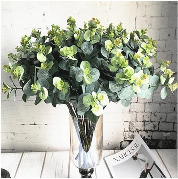16 têtes d'eucalyptus bouquet d'arbres branches de soie feuilles artificielles décoration de la maison bricolage arrangement de fleurs plante faux feuillage guirlande