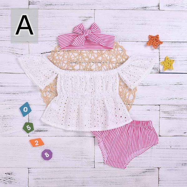 Nouveau joli bébé fille dentelle tenue solide hors épaule creuse chemise tops noir rayé shorts d'été 3 Pcs infantile vêtements à la mode