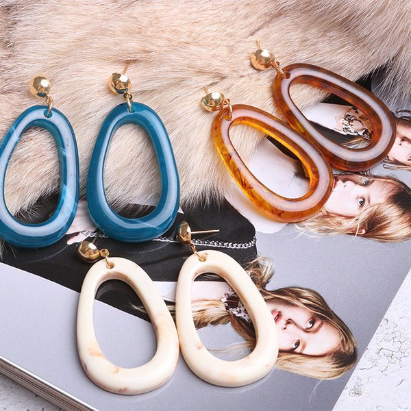Acrílico cuelga los pendientes largos para las mujeres de resina bohemio redondo geométrico de cristal pendiente de gota joyería de la boda de moda