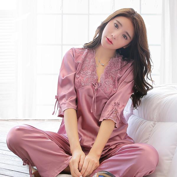 1fba19333fdd760 2PC Женская домашняя одежда Пижамы Set 2019 Сексуальные кружевные пижамы  Пижама V-образным вырезом для