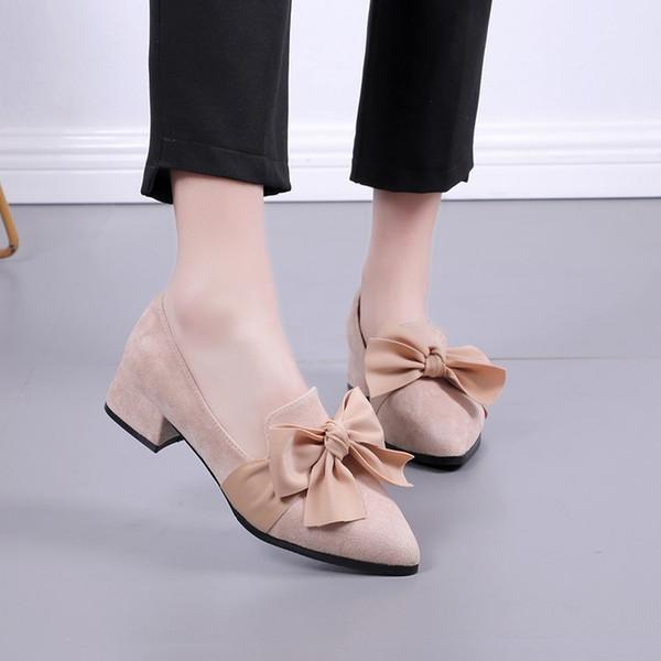 Zapatos Primavera Otoño Solo 2019 Pie Puntiagudo Mujer Damas De Básicos Más Dedo Bowknot A Compre Mujeres Zapato Nuevas Las Del dBerxCo