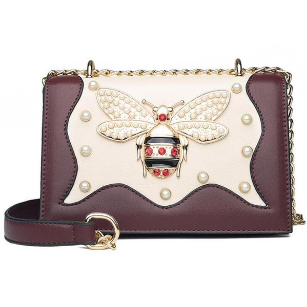 Оптовая продажа фабрики бренд женская сумка элегантный новый стиль кожа Цепная сумка сладкий алмаз пчела женщин сумка иностранного газа сладкий жемчужный диам