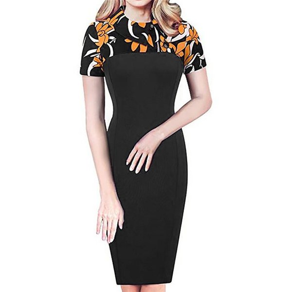 2019 O Neck Mini Dress Women Retro Chic Colorblock Lapel Career Tunic Dress  Elegant Plus Size Women Vintage Party Vestidos Boutique Dresses Black And  ...