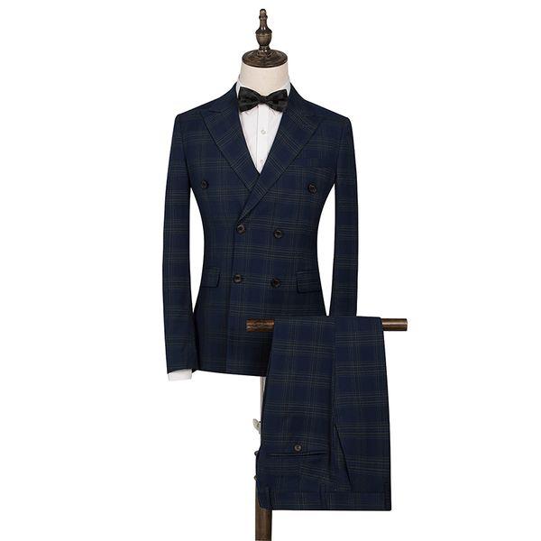 2019 Classic Plaid Wedding Suit For Men Double Breasted 2 Pieces Slim Fit Men Tuxedos Party Dress Elegant Male Suits