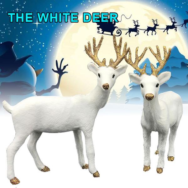 Nordic Christmas White Reindeer Plush Plastic 2 Size Standing Display Window Shop Office Toy Kids Wedding Decor Año Nuevo