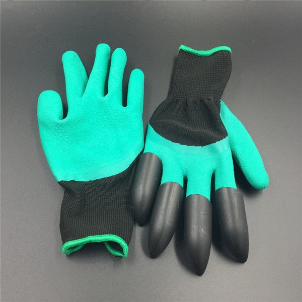 ousehold Cleaning Tools Accessories Household 10Pairs garden with 4 ABS Plastic Claws Gardening work Gloves for Digging Planting glove ...