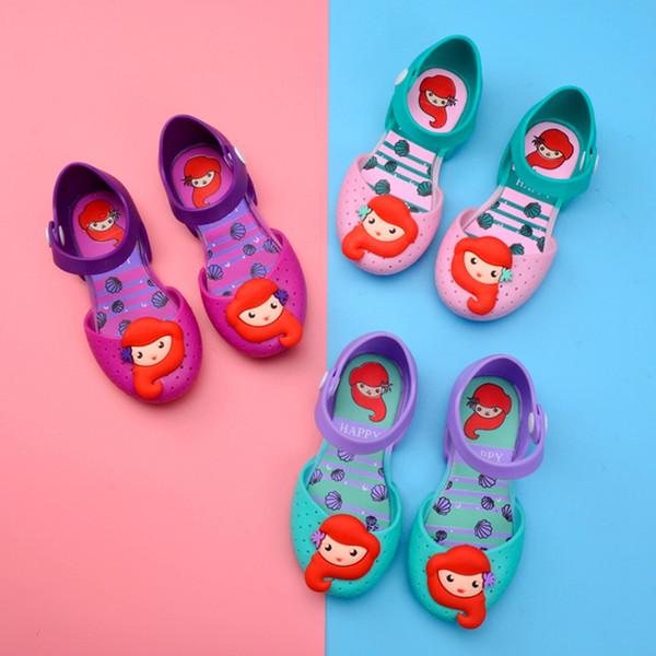 Moda ragazza sirena scarpe gelatina Cartoon versione bambino bella principessa scarpe carino bambini estate viaggi sandali da spiaggia TTA1076