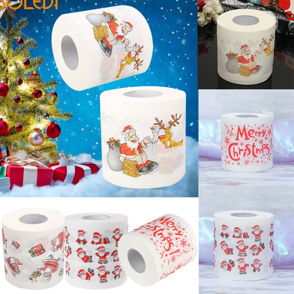 best selling Christmas Pattern Roll Napkins Bath Toilet Paper Funny Humour Gag Xmas Tissue Living Room Table Decoration Gifts Santa Claus print design