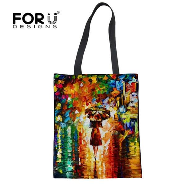 Forudesigns sacos de compras pintura bolsa de viagem reutilizável personalizado bolsa de ombro bolsa de ombro das mulheres dobrável saco de linho grande # 89921