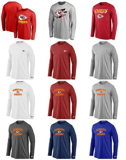 New Style Kansas Men Chiefs Sideline Team Logo Performance Sweatshirt Long Sleeve T-Shirt