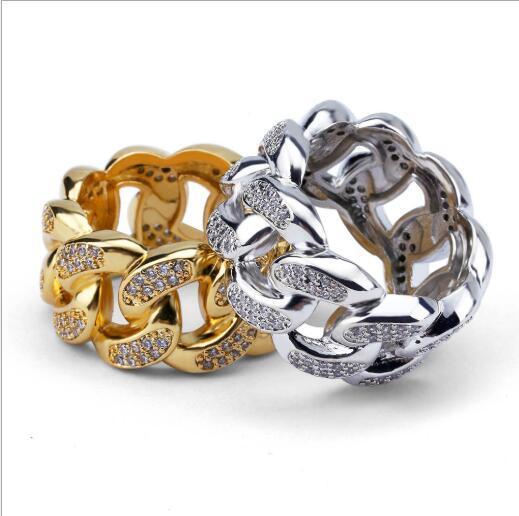 Moda Unisex Hip Hop Bling Diseño de cadena de eslabones cubanos de acero inoxidable para hombre Micro Pave Crystal Ring Jewelry
