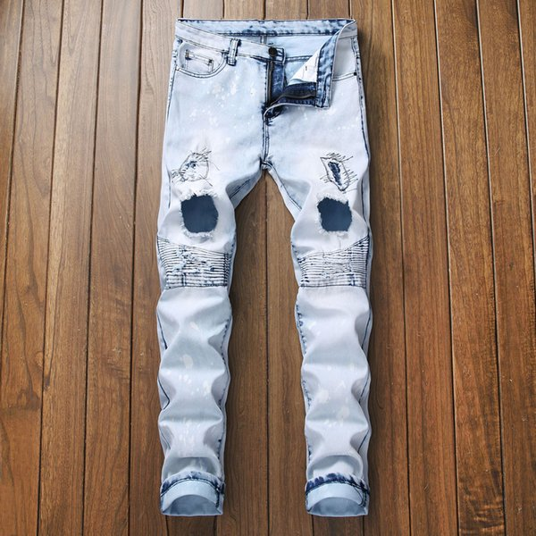 Oeak Mens Jeans 2019 Personality Embroidered Hole Zipper Stretch Vintage Denim Pencil Pants Ripped Trousers Plus Size