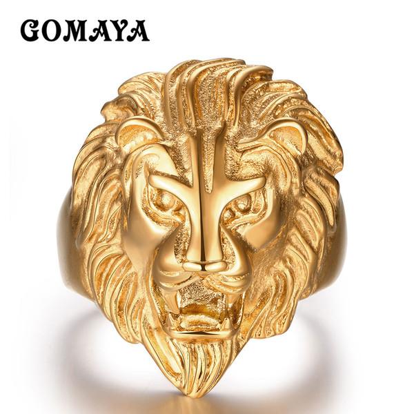 bague homme or lion
