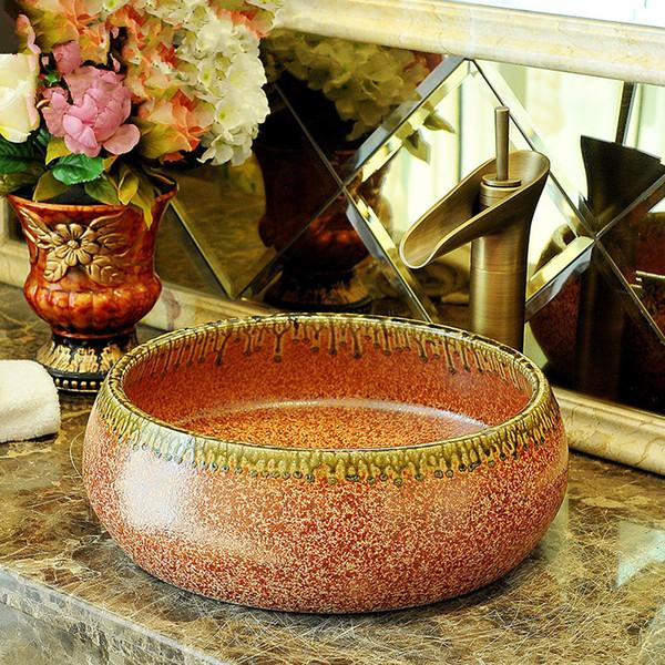 Китай Художественный Фарфор ручной работы Фарфор Lavabo сосуда ванной комнаты Раковины керамический умывальник фарфора бассейна раковина