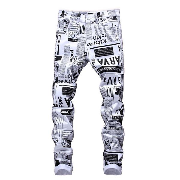 Mode-Mens-Entwerfer-Bleistift-Jeans-Buchstabe druckte weiße Denim-Hosen-Art- und Weiseverein-Kleidung für Mann-freies Verschiffen-Hip Hop-dünne Jeans