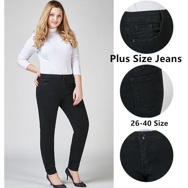 Damen Big und Tall High Waist Stretch Plus Size Denim Röhrenjeans 6 Styles Big Size Lady Blau Schwarz Classic Slim Fit High Rise Pant 26-40