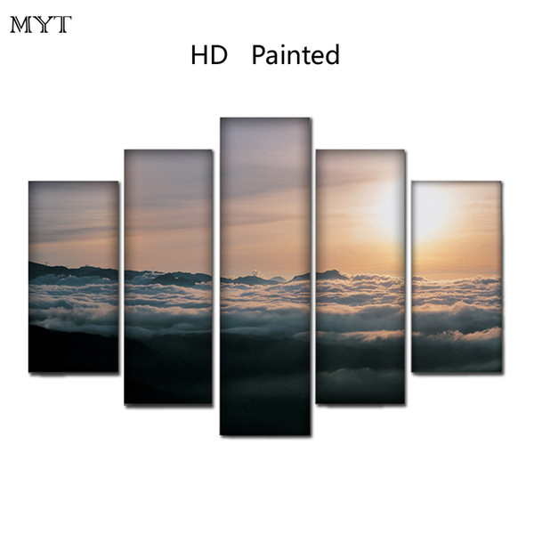 Sunlight on sea scenery unframed HD Printed Paintings Spraying image on Canvas Wall Art pictures 5 pieces For living room Home Decor