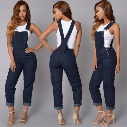 Baggy Womens Denim Jeans Full Length Pinafore Dungaree Overall Jumpsuit Playsuit Bodysuits Overalls For Women drop shipping