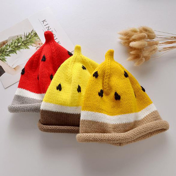 New Baby Hand-knitted Hats Fruit Hat Children Watermelon Hat Autumn Winter Cute Wool Hat Outdoor Pullover Warm Cap