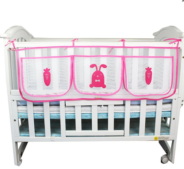 Cartoon Hanging Storage Bag Baby Cot Bed Brand Baby Crib Organizer Toy Diaper Pocket For Crib Bedding Set Storage Bed Bumper LE355