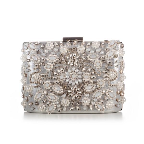 Rhinestones Pearls Beaded Evening Bag Fashion Party Wedding Women Evening Handbag Crystal Bridal Chain Evening Clutches