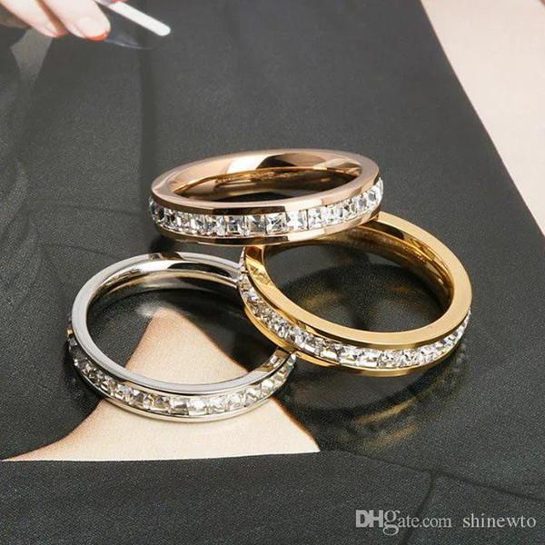 Acciaio nuovo modo signora 316L titanio arrivo Circles singolo quadrato nozze di diamante di fidanzamento oro 18K placcato strette anelli 3 colori Size5-9