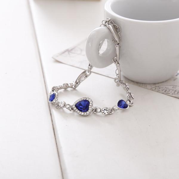 Bracelets for Women Fashion Ocean Blue Sliver Plated Crystal Rhinestone Heart Charm Bracelet Bangle Gift Jewelry Charm Bracelets
